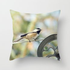 Chick on a line Throw Pillow