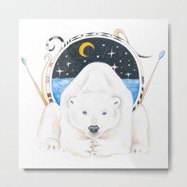 Polar Bear King Of North Watercolor Metal Print