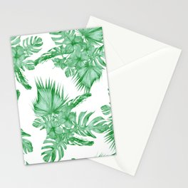Palm Leaves and Hibiscus Tropical Green Stationery Cards