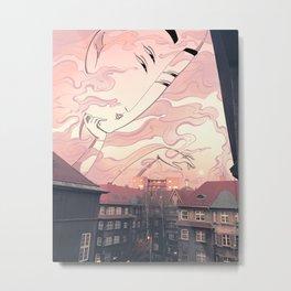 Pink full moon  Metal Print