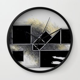 The city of black squares Wall Clock