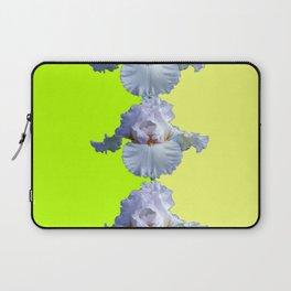 SNOW WHITE SPRING IRIS  GREEN-YELLOW  FLOWERS ART Laptop Sleeve