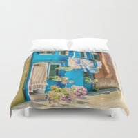italy Duvet Covers featuring Burano, Italy  by Elliott's Location Photography