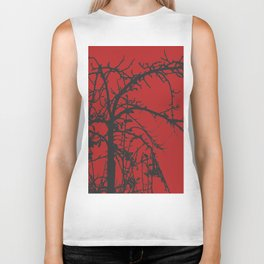 Creepy tree silhouette, black on red Biker Tank