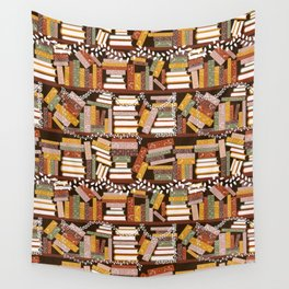 Bookshelf with Christmas Lights Pattern Wall Tapestry