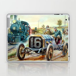 Vintage Cars Racing Scene,train painting Laptop & iPad Skin