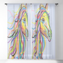 Horse of a Different Color Sheer Curtain