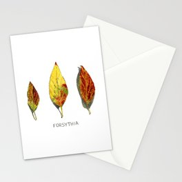 Fall Forsythia Leaves Stationery Cards