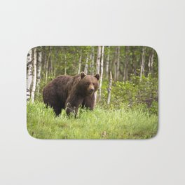 Amazing Huge Adult Grizzly Bear Strolling Proudly Across Wood Clearing Ultra HD Bath Mat
