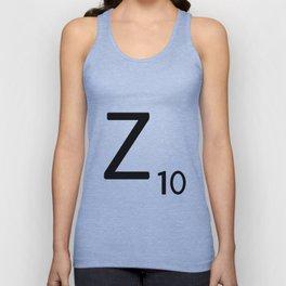 Letter Z - Custom Scrabble Letter Tile Art - Scrabble Z Initial Unisex Tank Top