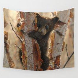 Black Bear Cub - Curious Cub II Wall Tapestry