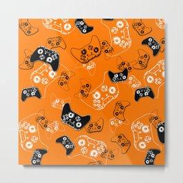 Video Game Orange Metal Print