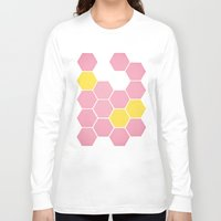 honeycomb Long Sleeve T-shirts featuring Pink Honeycomb by Cassia Beck