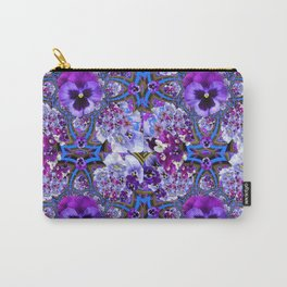 BLUE GEOMETRIC LILAC PURPLE PANSIES GARDEN ART Carry-All Pouch