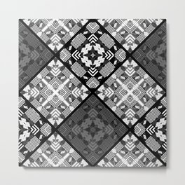 Black and white patchwork 3 Metal Print