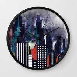 New York City Skyscrapers In Watercolor Art, City Skyline Art, New York Poster, Wall Art Home Wall Clock