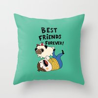pug Throw Pillows featuring PUG by Jarvis Glasses