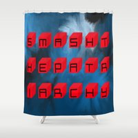 patriarchy Shower Curtains featuring Smash The Patriarchy by pandaliondeath