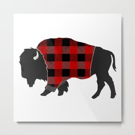 Bison Buffalo Plaid Metal Print