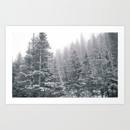 Snowing on the Mountain Art Print