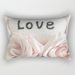 Shabby Chic Romantic Pink Roses Love Print Home Decor Rectangular Pillow