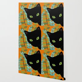 Black Kitty Cat In The Garden Wallpaper
