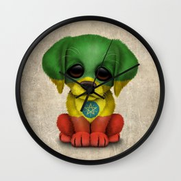 Cute Puppy Dog with flag of Ethiopia Wall Clock