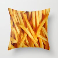 fries Throw Pillows featuring Fries by Maioriz Home