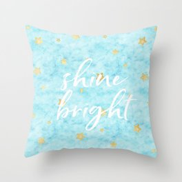 Gold Sky Blue Watercolor Stars Shine Bright Throw Pillow