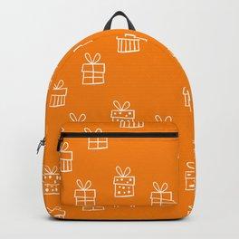 White Christmas gift box pattern on Orange background Backpack