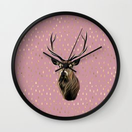 Highland Stag on pink and gold raindrop pattern Wall Clock