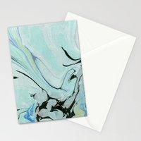 Soft Blue & Black Marbling Stationery Cards