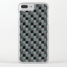 Rustic Teal Blue Green Black Patchwork Clear iPhone Case