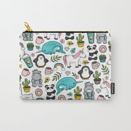 Girly Icon Art, Narwhals, Pandas, Llamas, Unicorns, Penguins and Baby Hippos, Emoji Tween Girl Art Carry-All Pouch