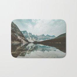 Moraine Lake Mountain Reflection Summer Bath Mat