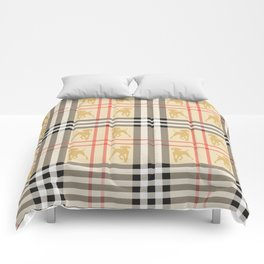 WEIMARANERS AND BEIGE PLAID2 Comforters