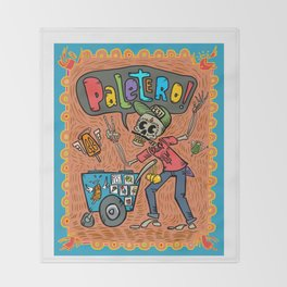 Day of the Dead PALETERO Sings with Angel Popsicles Throw Blanket