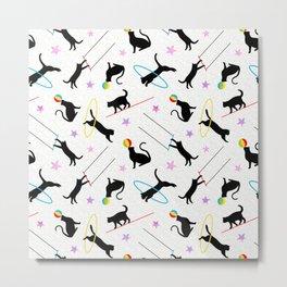 Acrobatic Cats on White Metal Print