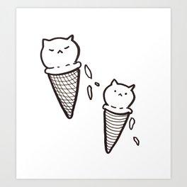 Cat Ice Cream Art Print