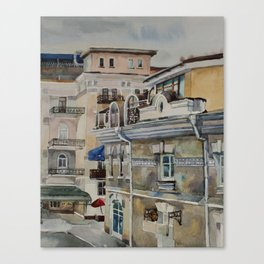 Old street in Yalta in grey rainy day Canvas Print
