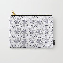Scallop sea shells illustration. Navy blue and white. Summer ocean beach print. Carry-All Pouch