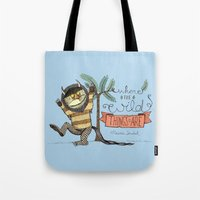 wild things Tote Bags featuring Wild Things by Sofia Verger