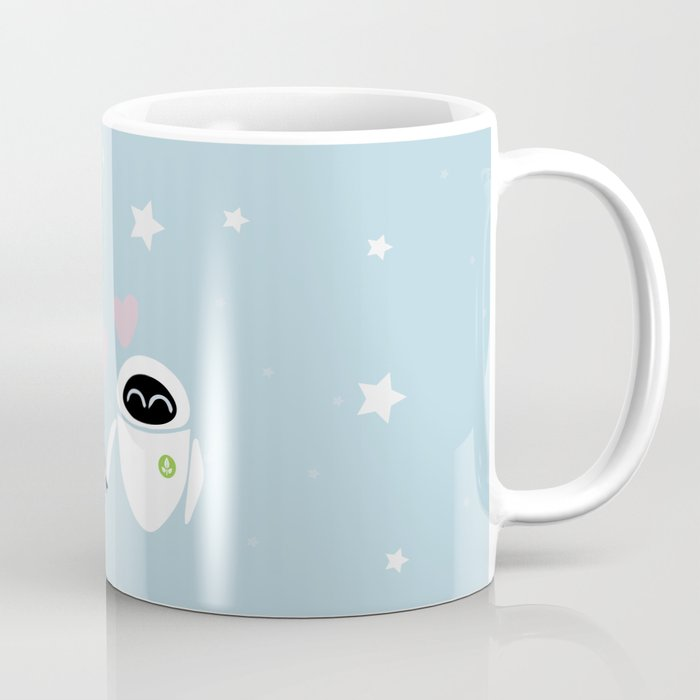 Pixar walle and eve love and romance minimalistic coffee mug by studiomarshallarts society6 - Walle and eve mugs ...