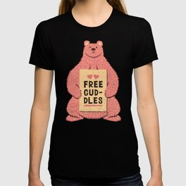 Cute Bear Free Cuddles Pink T-shirt