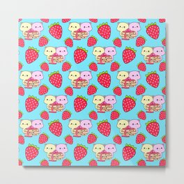 Cute sweet adorable yummy Kawaii pancakes with raspberry syrup, little funny cats and red ripe summer strawberries cartoon light pastel blue pattern design Metal Print