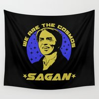 carl sagan Wall Tapestries featuring Carl Sagan we are the cosmos by Buby87
