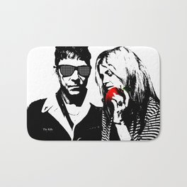 the Kills - Black and White with red Apple Bath Mat