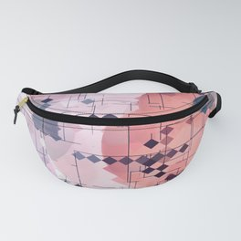geometric square pixel pattern abstract with circle pattern background in red pink blue Fanny Pack