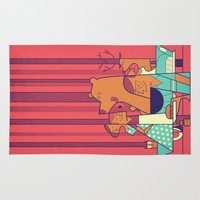 50s Area & Throw Rugs featuring Barbecue by Ale Giorgini