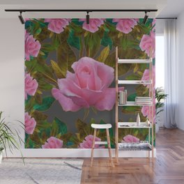 LEAFY PINK ROSE GARDEN & GREY PATTERNS ART Wall Mural